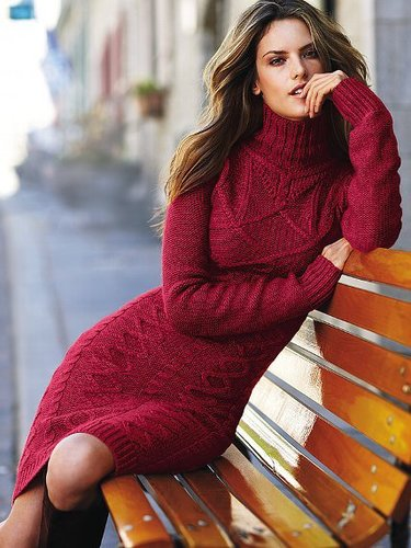 Long-sleeve Turtleneck Cable Sweaterdress