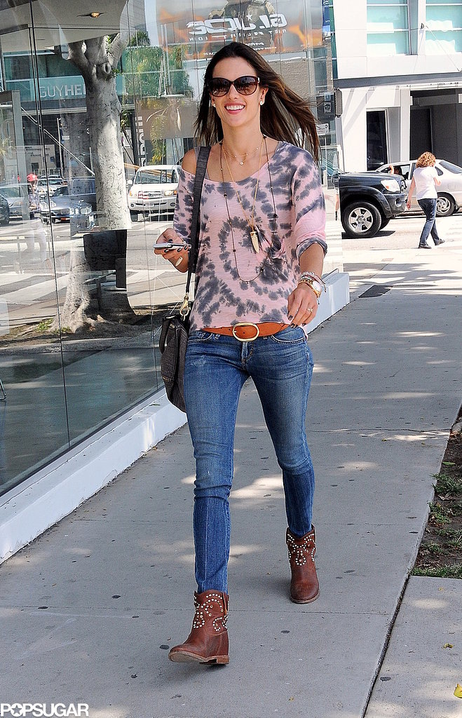 Alessandra Ambrosio was all smiles on her outing.
