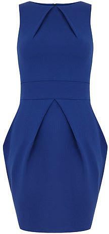 Blue pleat neck dress