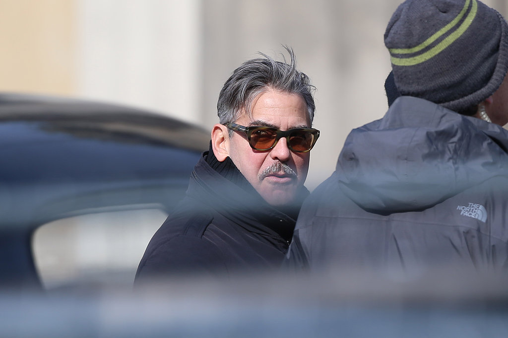 George Clooney sported a mustache on set.