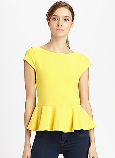 Alice + Olivia's yellow peplum top ($198) would look amazing with a pair of black cropped trousers at work and with skinny jeans on the weekend.