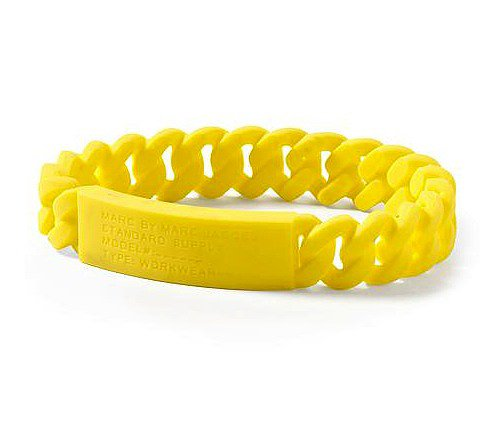 Make your wrist the center of attention via this Marc by Marc Jacobs rubber ID bracelet ($28) and mix it with other bracelets for a full-on arm party.
