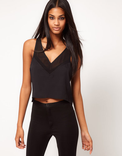 ASOS Cropped Tank With Sheer Panels