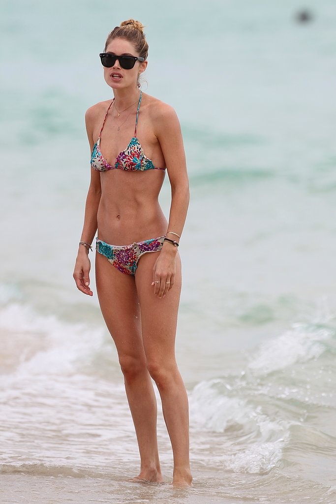 Doutzen Kroes wore a printed bikini in Miami Beach during a family holiday in March 2013.