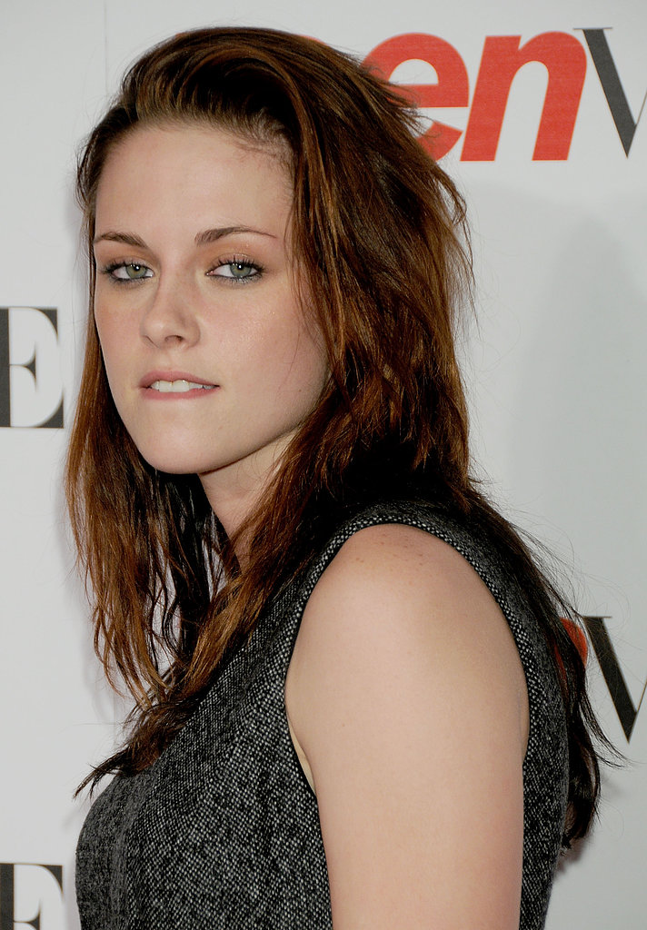 Kristen Stewart bit her lip as she walked the red carpet at the Teen Vogue Young Hollywood event in LA in September 2008.
