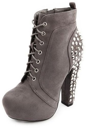 Stud Back Sueded Lace-Up Bootie