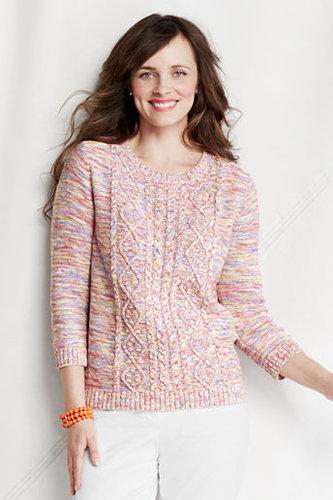 Women's Regular 3/4-sleeve New Drifter Marl Cable Crew Sweater