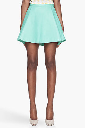 BALMAIN Mint green pleated Leather Skirt
