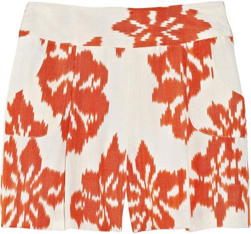 Oscar de la Renta for THE OUTNET Ikat woven silk and cotton-blend shorts