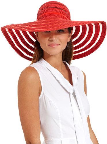 Nine West Hat, Sheer Stripe Packable Super Floppy
