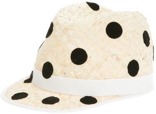 Benoit Missolin polka dot straw cap