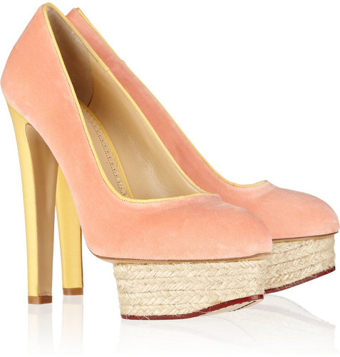 Charlotte Olympia Dorothy velvet and crepe de chine pumps