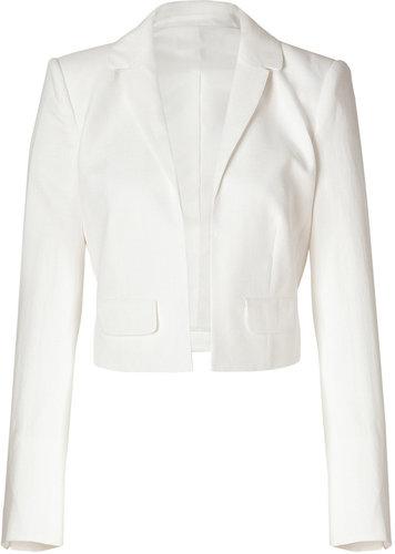 Rachel Zoe Ivory Woven Tencel-Cotton Cropped Bobby Jacket