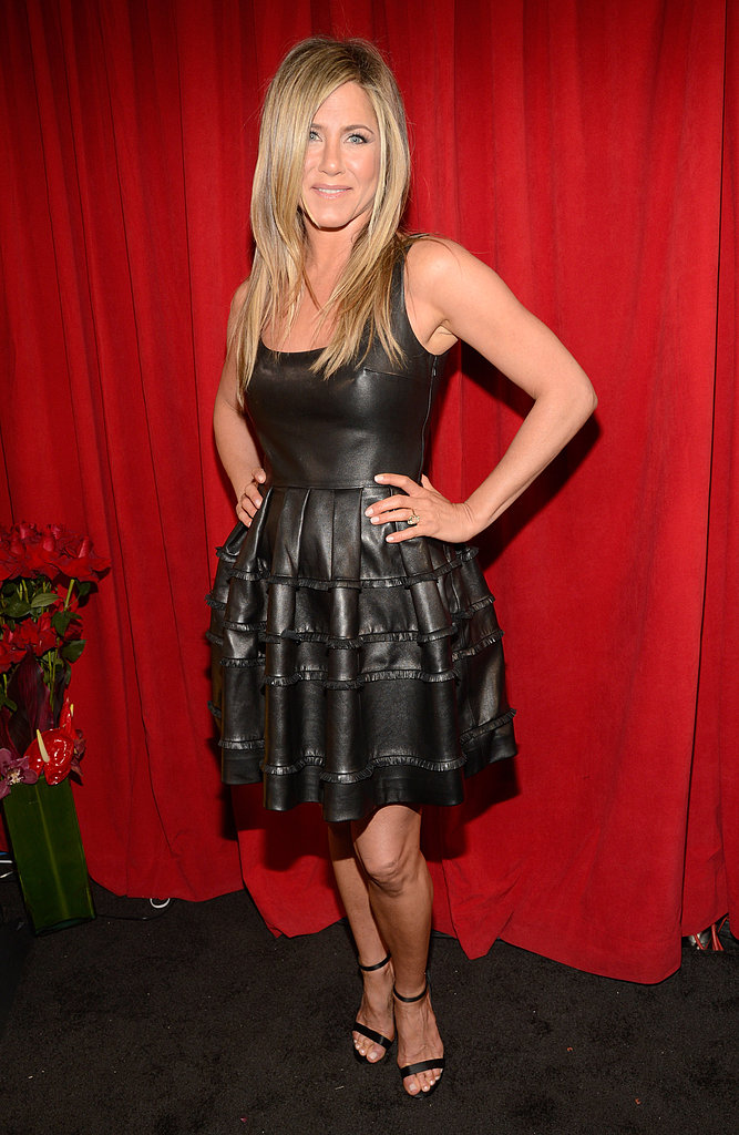 Jennifer Aniston's fit-and-flare Christian Dior dress was the perfect marriage of edgy and flirty.