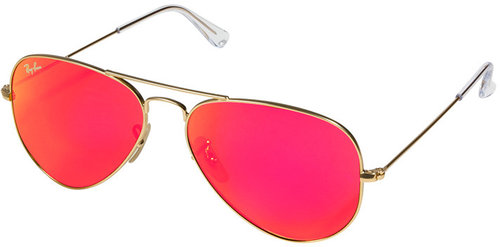 Ray-Ban Matte Gold-Toned Aviator Metal Mirrored Sunglasses