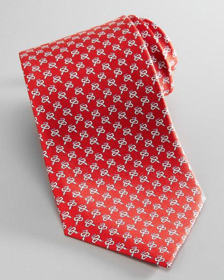 Salvatore Ferragamo Snake-Print Silk Tie, Red