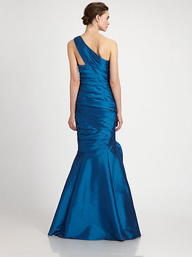 ML Monique Lhuillier One-Shoulder Taffeta Gown