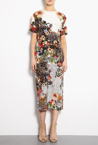 Mother of Pearl Decoy Flowers Gathered Waist Midi Dress