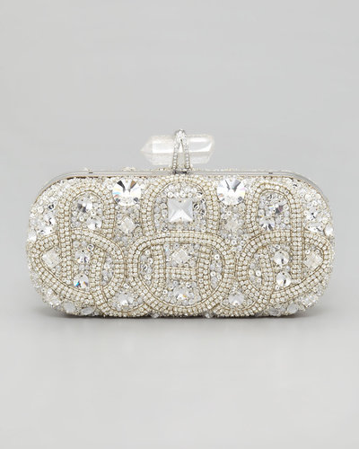 Marchesa Lily Medium Embroidered Stone Box Clutch, Clear