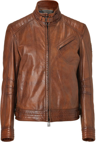 Belstaff Cognac Leather Framingham Blouson Jacket