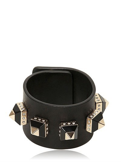 Leather Cuff With Pyramid Studs