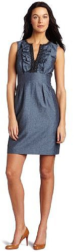 Nine West Dresses Women's Ruffle Neck Sheath Dress