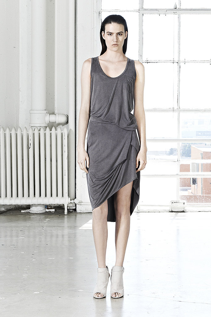 Behold the beautiful draping on this J Brand ensemble — a pocket tank with a high-low skirt that gives the illusion of a dress.