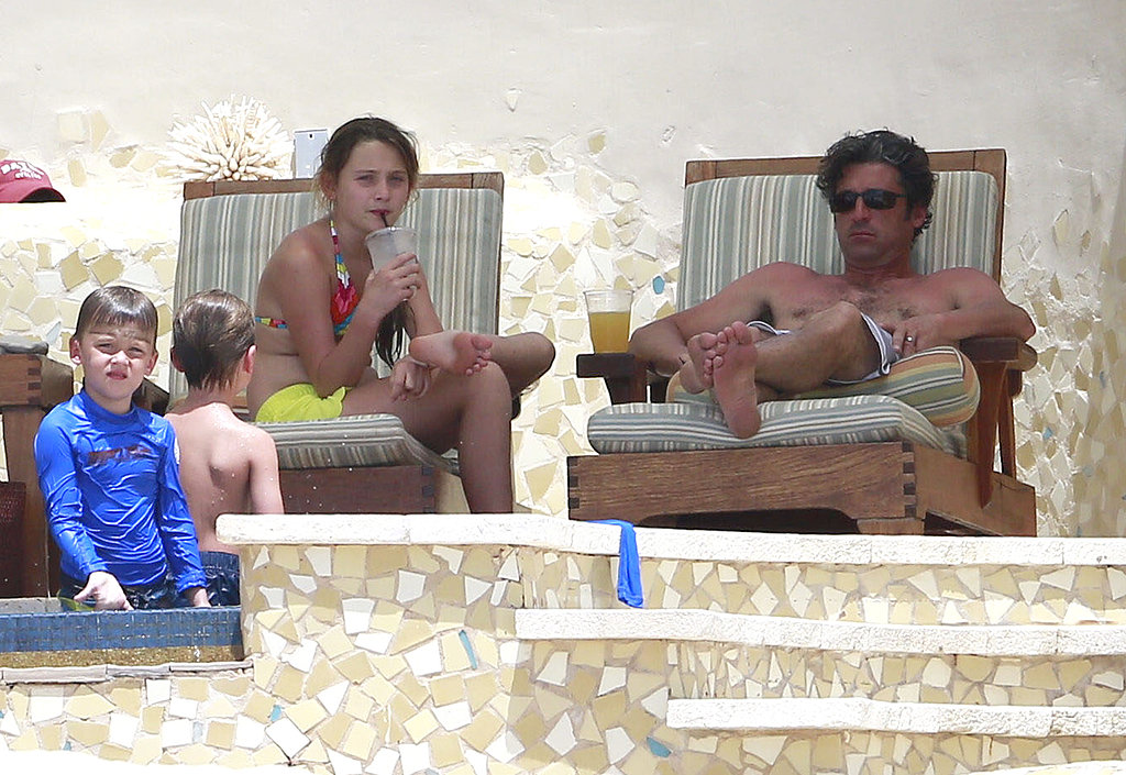 Patrick Dempsey worked on his tan with his family in Mexico.