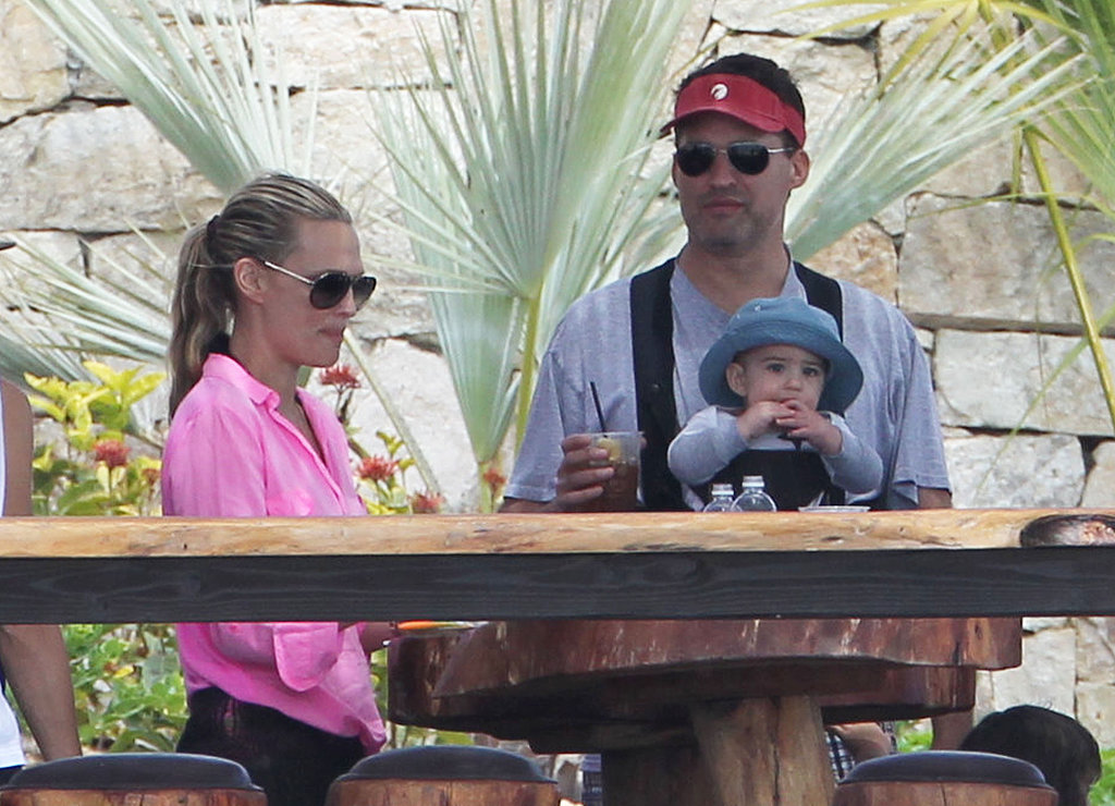 Molly Sims and her husband, Scott Stuber, relaxed in Mexico with their son, Brooks, on Friday.