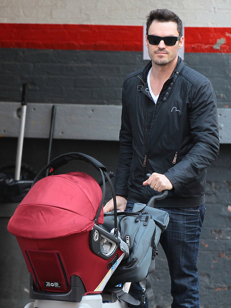 Brian Austin Green was on dad duty in NYC on Friday while taking his son Noah on a stroll.