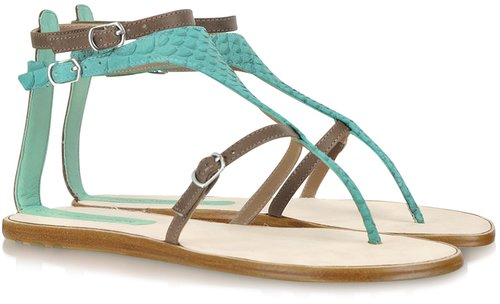 Sigerson Morrison Gaugain Two-Tone Leather Flat Sandal