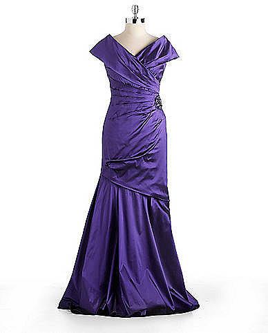 TERI JON Embellished Wrap Gown