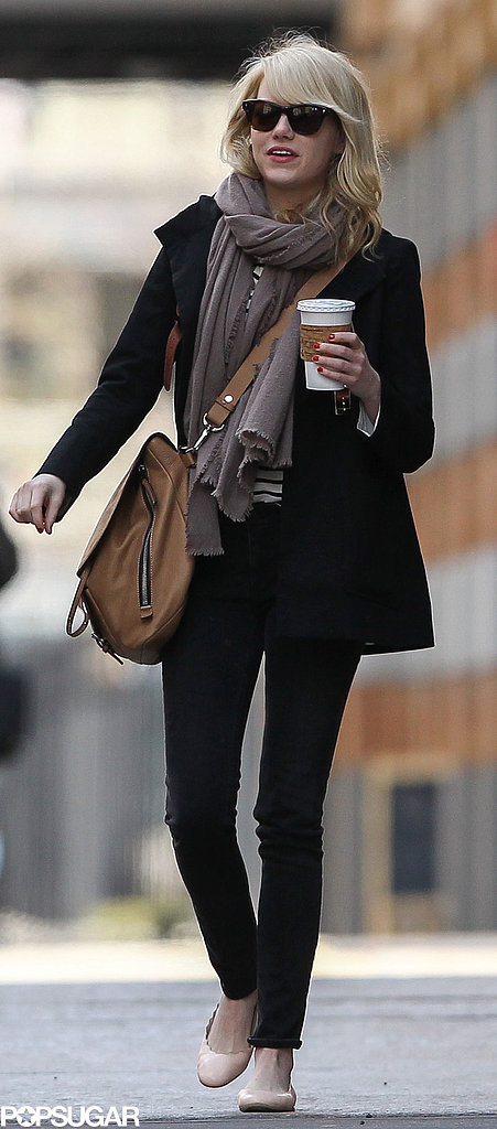 Emma Stone carried a coffee in NYC.