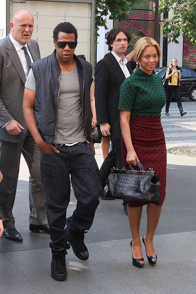 Beyoncé was ladylike in a polka-dot Marc Jacobs dress, while Jay-Z stayed cool in a vest and black sneakers in Paris in 2011.
