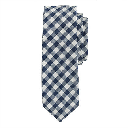 Extra-long classic gingham tie
