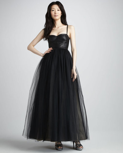 Alice + Olivia Ona Leather-Bustier Gown