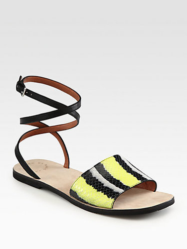 Marc by Marc Jacobs Caprice Striped Leather Ankle Strap Sandals