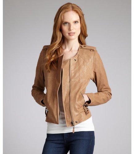 SAM. tan leather 'Arena' biker jacket