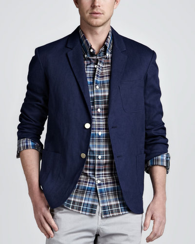 Vince Linen-Cotton Blazer, Navy