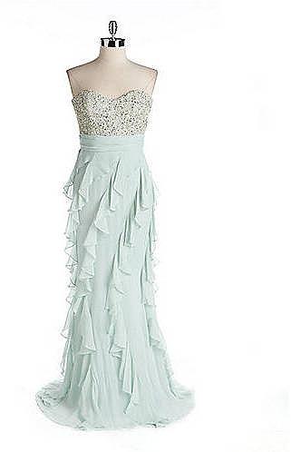 BADGLEY MISCHKA Strapless Beaded Gown