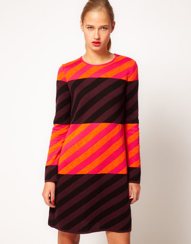 M Missoni Knitted Striped Color Block Shift Dress With Long Sleeves