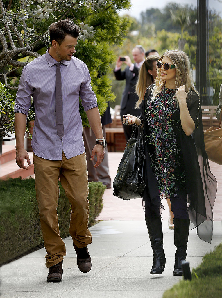 Josh Duhamel and pregnant Fergie went to church in Santa Monica, California.