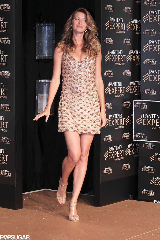Gisele Bündchen wore a bejeweled dress to the Pantene Expert promotion in Brazil on Wednesday.