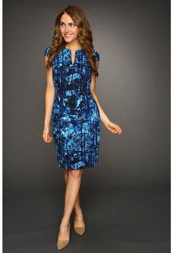 Calvin Klein - Printed C/S Dress (Cobalt/White Multi) - Apparel