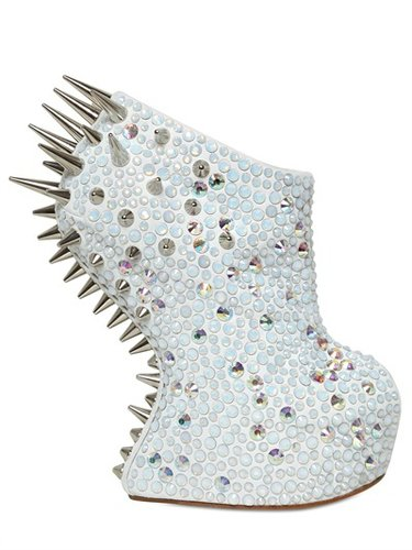 150mm Suede & Swarovski Spike Wedges