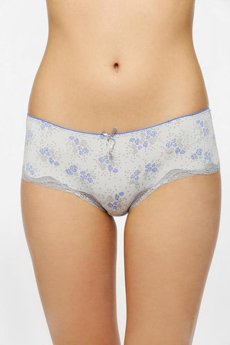 Lace-Trimmed Printed Hipster