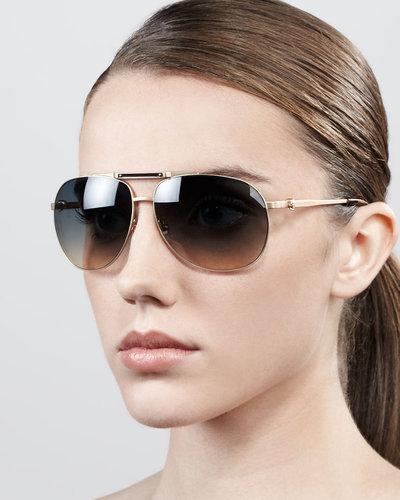 Alexander McQueen Skull Aviator Sunglasses, Gold Shiny Matte