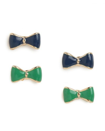 Green & Navy Minnie Bow Studs