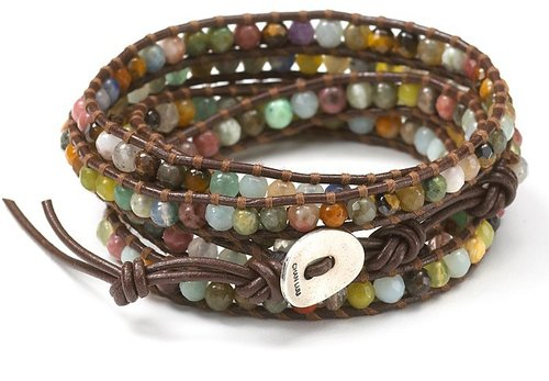 Chan Luu Semiprecious Stone-Embellished Leather Wrap Bracelet