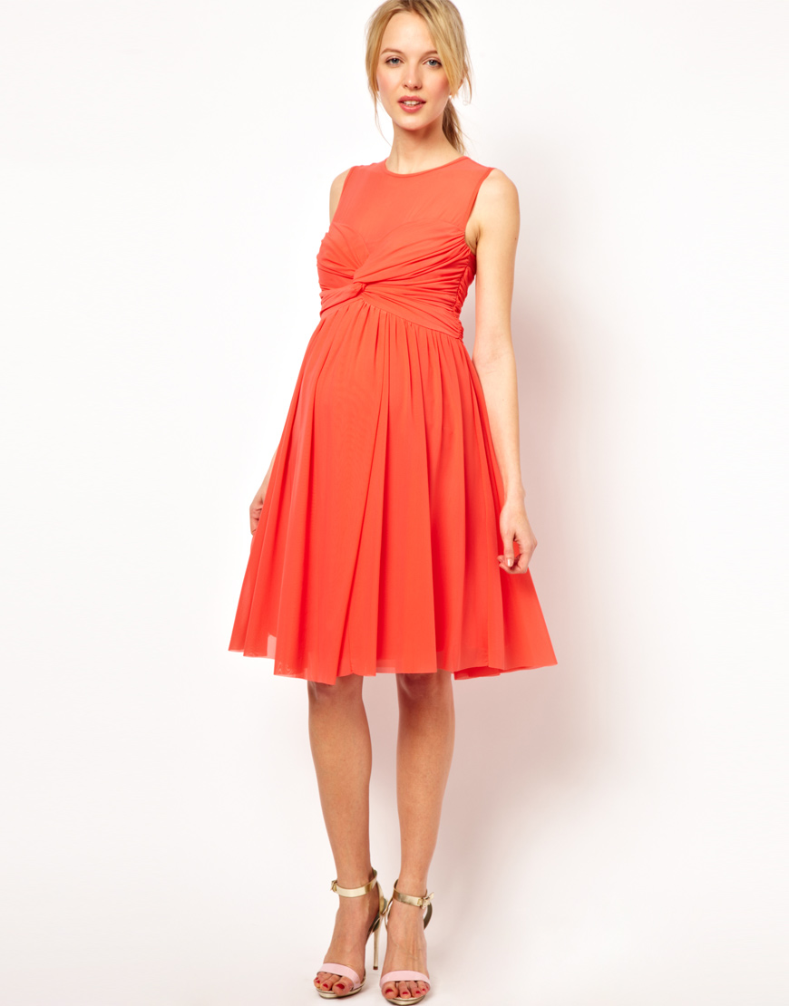 Asos maternity dress in mesh and knot front here comes for Wedding guest pregnancy dresses